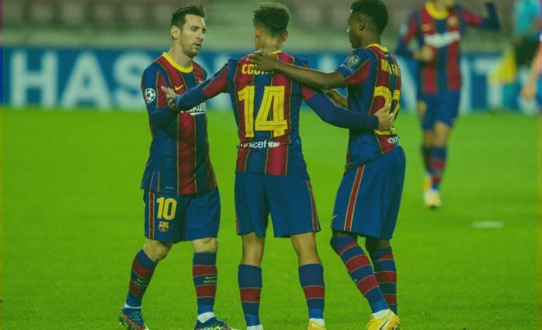 برشلونة يكتسح فرينكفاروزي بخماسة في مباراته الاولي بدوري أبطال أوروبا