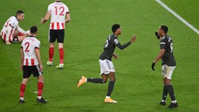 صورة أهداف مباراة مانشستر يونايتد وشيفيلد يونايتد (3-2) اليوم في الدوري الانجليزي
